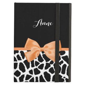 ガーリーなキリンのプリントの名前のオレンジリボンの弓 iPad AIRケース