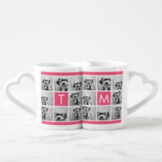 ガーリーなショッキングピンクのInstagramの写真のコラージュのモノグラム ペアカップ