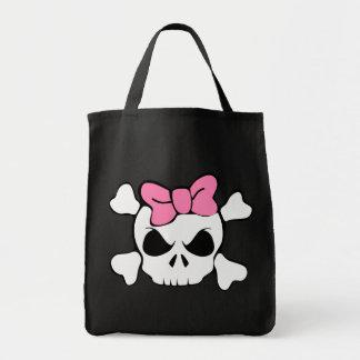 ガーリーなスカルのピンクの弓 トートバッグ