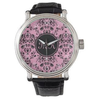 ガーリーなダマスク織のモノグラムのでエレガントで上品なピンクの黒 腕時計
