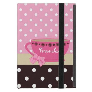 ガーリーなティーカップのピンクおよびブラウンの水玉模様の弓および名前 iPad MINI カバー