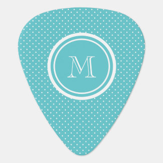 ガーリーなティール(緑がかった色)の白い水玉模様、あなたのモノグラムのイニシャル ギターピック