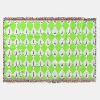 ガーリーなネオン緑のダイヤモンドのエッフェル塔パターン スローブランケット