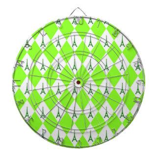 ガーリーなネオン緑のダイヤモンドのエッフェル塔パターン ダーツボード