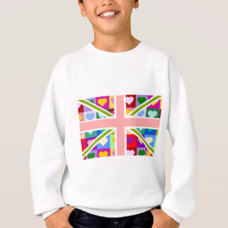 ガーリーなハートの英国国旗 スウェットシャツ