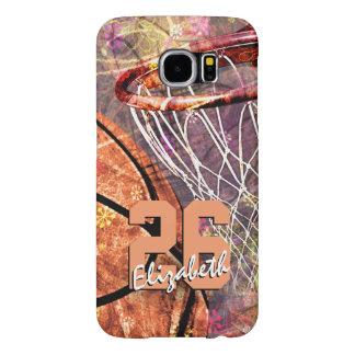 ガーリーなバスケットボールの女の子の一流のjersey数 samsung galaxy s6 ケース