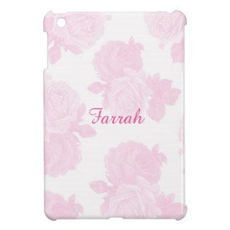 ガーリーなパステル調ピンクのバラパターンIPAD場合 iPad MINIカバー