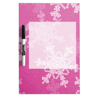 ガーリーなピンクおよびホワイトクリスマスの雪片 ホワイトボード