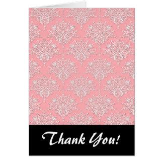 ガーリーなピンクおよび白いダマスク織パターン カード