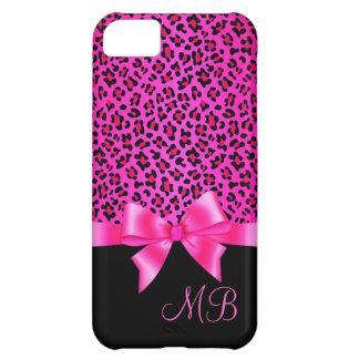 ガーリーなピンクおよび黒いヒョウのプリントのエレガントな上品 iPhone5Cケース