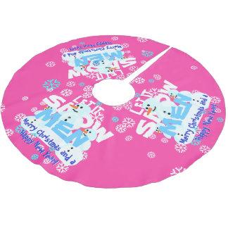 ガーリーなピンクのおもしろいそれが雪だるま人の雪が降るようにしました クリスマスツリースカート