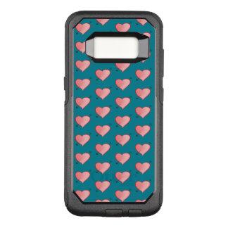 ガーリーなピンクのかわいいハートパターン漫画のターコイズ オッターボックスコミューターSamsung GALAXY S8 ケース
