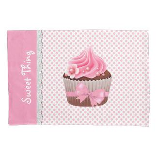 ガーリーなピンクのカップケーキの枕箱 枕カバー