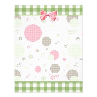 ガーリーなピンクのギンガムパターンはかわいいデイジーを一周します チラシ