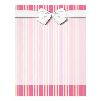 ガーリーなピンクのクリーム色の白い細い縦縞 チラシ