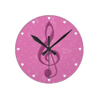ガーリーなピンクのクレフ、音符記号および音符 ラウンド壁時計