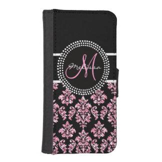 ガーリーなピンクのグリッターによって印刷される黒いダマスク織のモノグラム iPhoneSE/5/5sウォレットケース