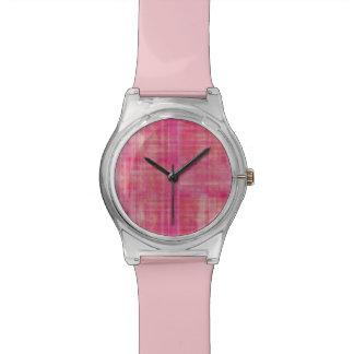 ガーリーなピンクのストライプのな芸術パターン 腕時計