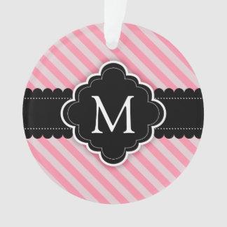 ガーリーなピンクのストライプパターン黒の習慣のモノグラム オーナメント