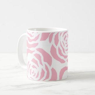 ガーリーなピンクのバラのクラシックな白いコーヒー茶マグ コーヒーマグカップ