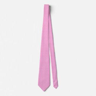 ガーリーなピンクのバラの小さい編まれたハート オリジナルネクタイ