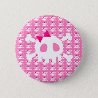 ガーリーなピンクのパンクのスカル 5.7CM 丸型バッジ