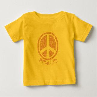 ガーリーなピンクのピースサイン ベビーTシャツ