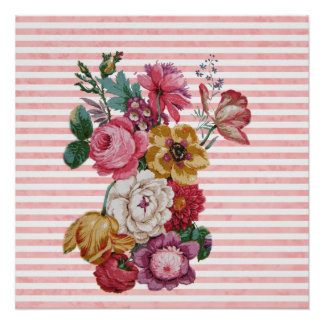 ガーリーなピンクのヴィンテージのストライプでカラフルなバラ ポスター