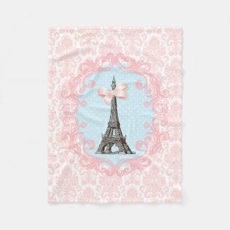 ガーリーなピンクの弓エッフェル塔のヴィンテージのフランス人のダマスク織 フリースブランケット