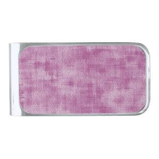 ガーリーなピンクの水彩画の抽象芸術パターン シルバー マネークリップ