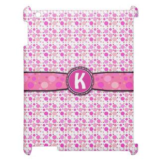 ガーリーなピンクの水玉模様のモノグラムパターン iPadケース