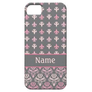 ガーリーなピンクの灰色の(紋章の)フラ・ダ・リのダマスク織のiPhone 5の箱 iPhone SE/5/5s ケース