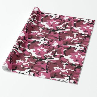 ガーリーなピンクの迷彩柄 ラッピングペーパー