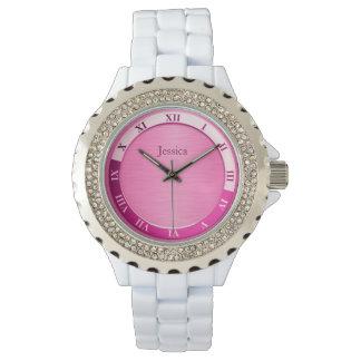 ガーリーなピンクの金属一流のテンプレート 腕時計