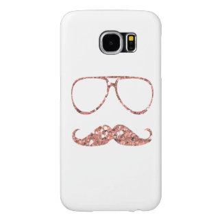 ガーリーなピンクの髭ガラスのグリッター SAMSUNG GALAXY S6 ケース