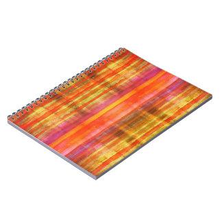 ガーリーなピンクの黄橙色の赤いネオンストライプ ノートブック