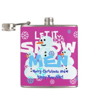 ガーリーなピンクはそれが雪だるま人の雪が降るようにしました フラスク