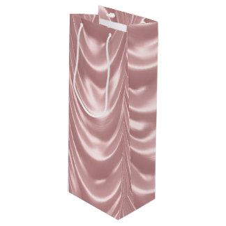ガーリーなピンクはサテンによってスカラップで仕上げられたパターンをルーシュで飾りました ワインギフトバッグ