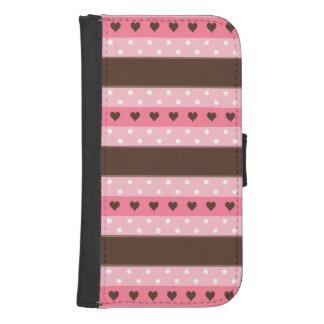 ガーリーなピンク及びブラウンのストライプおよび水玉模様パターン ウォレットケース