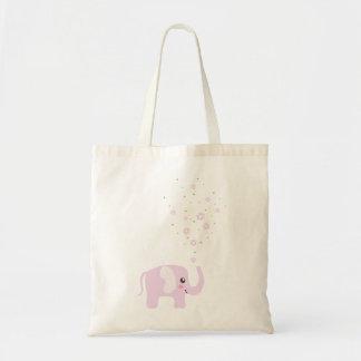ガーリーなピンク及び紫色のかわいい象 トートバッグ