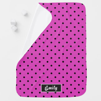 ガーリーなピンク及び黒い水玉模様 ベビー ブランケット