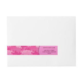 ガーリーなピンク色のスタイルのカムフラージュパターン ラップアラウンド宛名ラベル