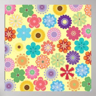 ガーリーなフラワーパワーカラフルな花パターンギフト ポスター