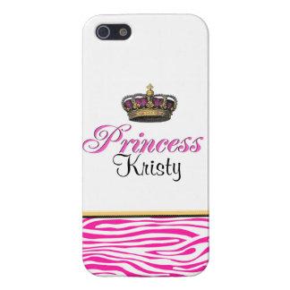 ガーリーなプリンセスの王冠のショッキングピンクのシマウマ iPhone SE/5/5sケース