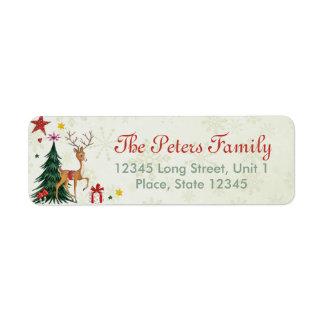 ガーリーなメリークリスマスのトナカイ-宛名ラベル 返信用宛名ラベル