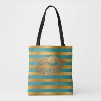 ガーリーなモダンは、名前入りなきらびやかな唇縞で飾ります トートバッグ