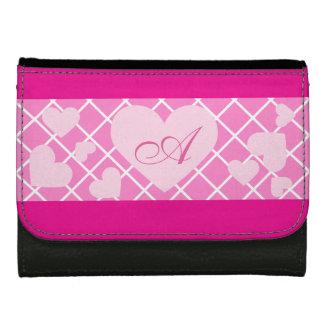 ガーリーなモノグラムの革財布が付いているピンクのハート