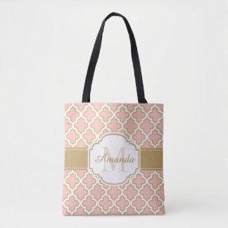 ガーリーなモロッコパターン金ゴールドのピンクのモノグラム トートバッグ