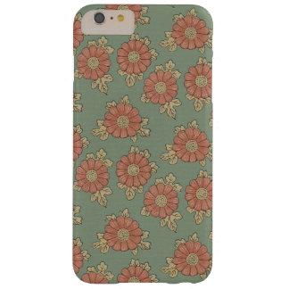 ガーリーなヴィンテージの日本のな緑および珊瑚の花柄 BARELY THERE iPhone 6 PLUS ケース