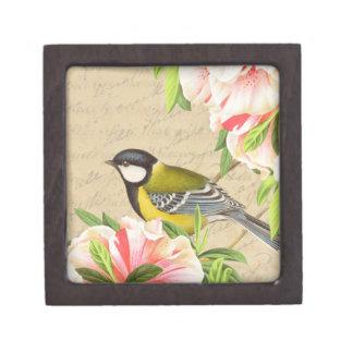 ガーリーなヴィンテージの鳥および花箱 ギフトボックス